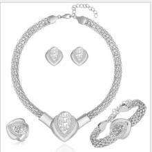 FLAWLESS CREATED DIAMOND 18K GOLD PLATED GERMAN SILVER 4PCS SET