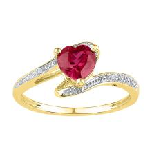 10kt Yellow Gold Womens Heart Lab-Created Ruby Solitaire Diamond-accent Ring 1.00 Cttw - Size 8