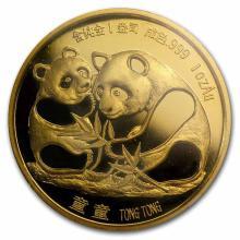 Chinese Gold Panda 1 Ounce 1987 Sino-Japanese Friendship Original mint sealed packaging