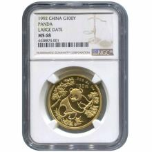 Certified One Ounce Chinese Gold Panda 1992 Large Date MS68 NGC