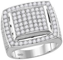 10kt White Gold Mens Round Prong-set Diamond Square Frame Cluster Ring 3-1/10 Cttw