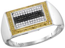 10kt White Gold Mens Round Black Yellow Colored Diamond Rectangle Cluster Ring 1/4 Cttw