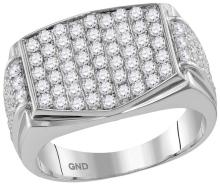 10kt White Gold Mens Round Pave-set Diamond Rectangle Cluster Ring 2.00 Cttw