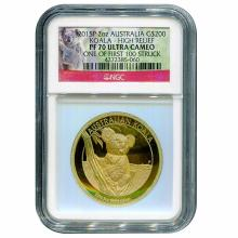 Australia $200 High Relief Gold Koala 2 oz. 2015 PF70 NGC