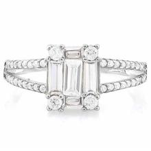 1 3/4 CARAT (49 PCS) FLAWLESS CREATED DIAMOND 925 STERLING SILVER HALO RING