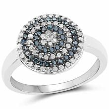 0.39 Carat Genuine Blue Diamond and White Diamond .925 Sterling Silver Ring
