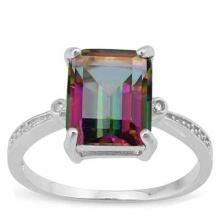 3 CARAT MYSTIC GEMSTONE & DIAMOND 925 STERLING SILVER RING
