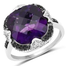 6.12 Carat Genuine Amethyst, Black Diamond and White Diamond .925 Sterling Silver Ring