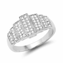 14K White Gold Plated 0.26 Carat Genuine White Diamond .925 Sterling Silver Ring