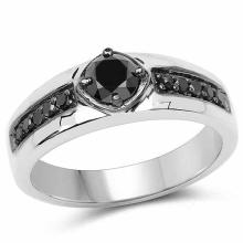 0.65 Carat Genuine Black Diamond .925 Sterling Silver Ring