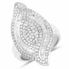 1.20 Carat Genuine White Diamond .925 Sterling Silver Ring