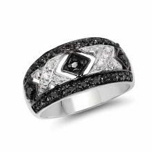 0.28 Carat Genuine Black Diamond and White Diamond .925 Sterling Silver Ring