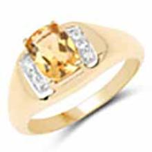 14K Yellow Gold Plated 1.36 Carat Genuine Citrine and White Topaz .925 Sterling Silver Ring
