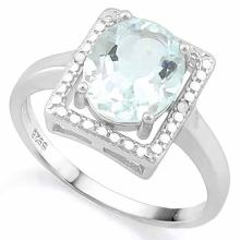 2 1/4 CARAT AQUAMARINE & DIAMOND 925 STERLING SILVER RING