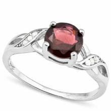 1.63 CARAT TW GARNET & CREATED WHITE SAPPHIRE PLATINUM OVER 0.925 STERLING SILVER RING