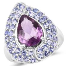 4.02 Carat Genuine Amethyst and Tanzanite .925 Sterling Silver Ring