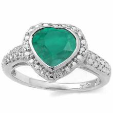 1.51 CARAT TW (3 PCS) DYED GENUINE EMERALD & GENUINE DIAMOND PLATINUM OVER 0.925 STERLING SILVER RING