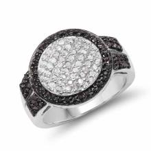 0.44 Carat Genuine Black Diamond and White Diamond .925 Sterling Silver Ring