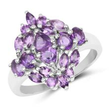 1.96 Carat Genuine Amethyst .925 Sterling Silver Ring