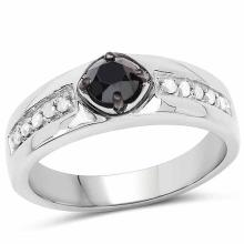 0.65 Carat Genuine Black Diamond and White Diamond .925 Sterling Silver Ring