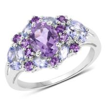 2.25 Carat Genuine Amethyst and Tanzanite .925 Sterling Silver Ring