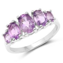 1.98 Carat Genuine Amethyst .925 Sterling Silver Ring