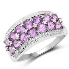 1.44 Carat Genuine Amethyst and White Topaz .925 Sterling Silver Ring