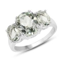 4.10 Carat Genuine Green Amethyst .925 Sterling Silver Ring