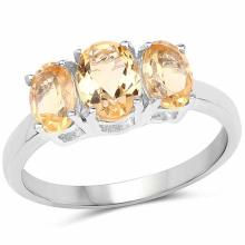 1.66 Carat Genuine Citrine .925 Sterling Silver Ring