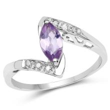 0.56 Carat Genuine Amethyst and White Diamond .925 Sterling Silver Ring