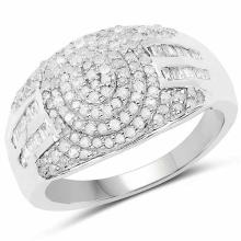 0.93 Carat Genuine White Diamond .925 Sterling Silver Ring