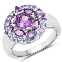 2.19 Carat Genuine Amethyst and Tanzanite .925 Sterling Silver Ring