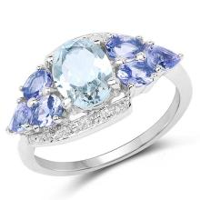 2.11 Carat Genuine Aquamarine and Tanzanite .925 Sterling Silver Ring