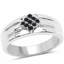 0.14 Carat Genuine Black Diamond .925 Sterling Silver Ring