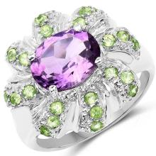 2.68 Carat Genuine Amethyst and Peridot .925 Sterling Silver Ring