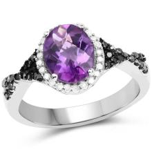 1.64 Carat Genuine Amethyst, Black Diamond and White Diamond .925 Sterling Silver Ring