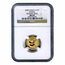 Certified Tenth Ounce Chinese Gold Panda 2000 10 Yuan Frosted Ring MS68 NGC