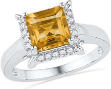 10kt White Gold Womens Cushion Lab-Created Citrine Solitaire Diamond Frame Ring 1-7/8 Cttw