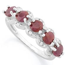 9 1/5 CARAT RUBY & DIAMOND 925 STERLING SILVER RING