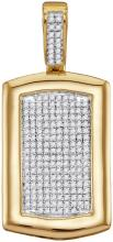 10kt Yellow Gold Mens Round Diamond Dog Tag Cluster Charm Pendant 1/2 Cttw