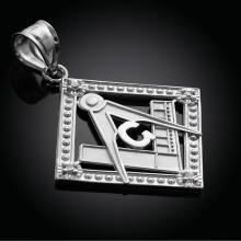10K White Gold Square Freemason Diamond Masonic Pendant