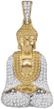 10kt Yellow Gold Mens Round Diamond Gautama Buddha Charm Pendant 1/2 Cttw
