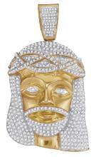 10kt Yellow Gold Mens Round Diamond Jesus Christ Messiah Head Charm Pendant 2-1/2 Cttw