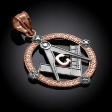 10K Two-Tone Rose Gold Round Freemason Diamond Masonic Pendant