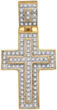 10kt Yellow Gold Mens Round Diamond Layered Christian Cross Charm Pendant 1/4 Cttw