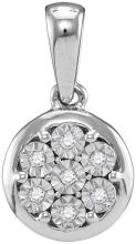 10kt White Gold Womens Round Diamond Illusion-set Flower Cluster Pendant 1/20 Cttw