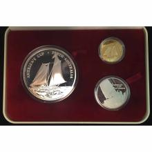 Samoa 3 Piece Gold and Silver PF Set 1987 America's Cup