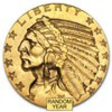 $5 Indian Gold Half Eagle AU (Random Year)