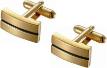 Rectangular Golden Finish Cufflinks with Black Enamel S