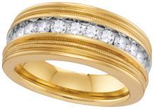 10kt Yellow Gold Mens Round Natural Diamond Milgrain Band Wedding Anniversary Ring 1.00 Cttw